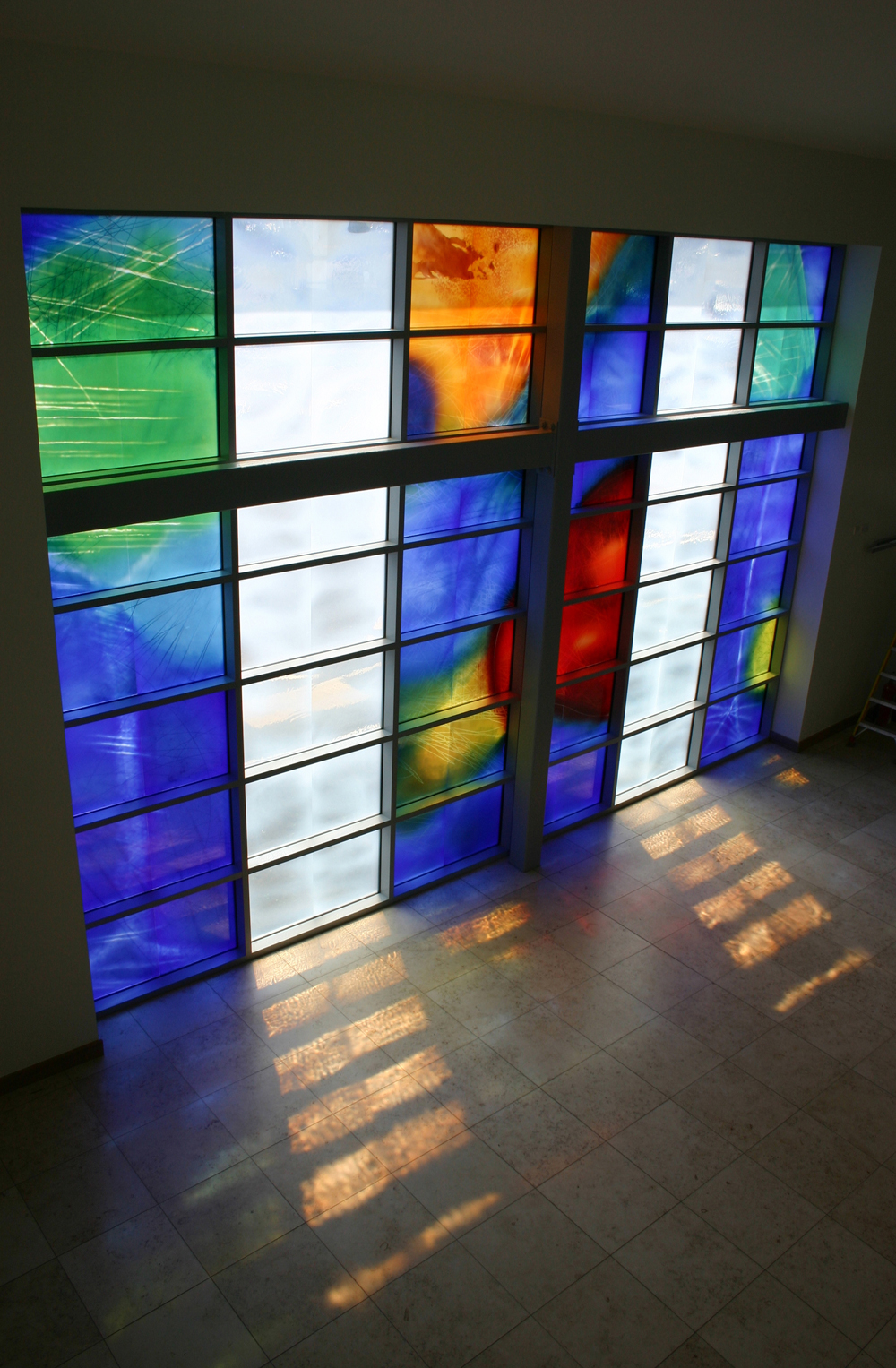 artwork copyright Martin Donlin 2007 photograph copyright Lime 2007,   www.limeart.org Window in Main Entrance at the Nightingale Centre and Genesis Research Centre, Wythenshawe Hospital, Manchester.  arts project managed by Helen Kitchen for Lime.